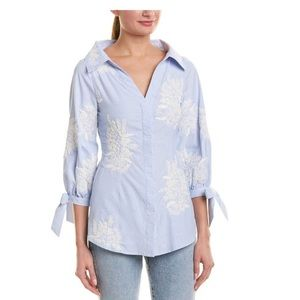 Alice + Olivia Toro Pinstriped embroidered top